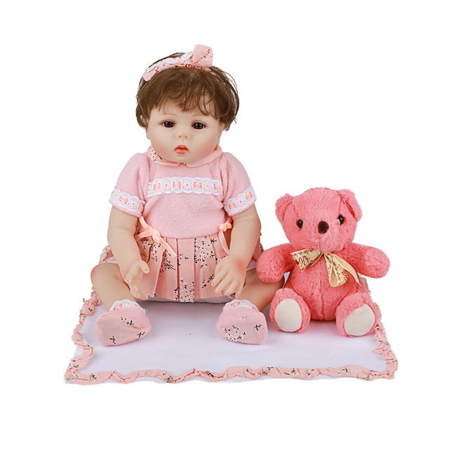 18 inch Reborn Doll Baby & Toddler Toy Reborn Toddler Doll Baby Girl Gift Cute Lovely Parent-Child Interaction Tipped and Sealed Nails Full Body Silicone with Clothes and Accessories for Girls