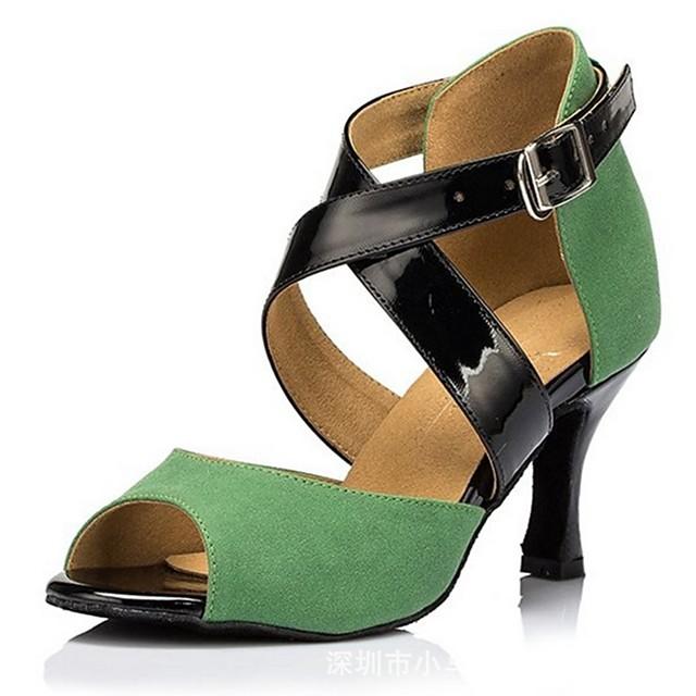 Women's Dance Shoes Latin Shoes Heel Cuban Heel Green / Performance