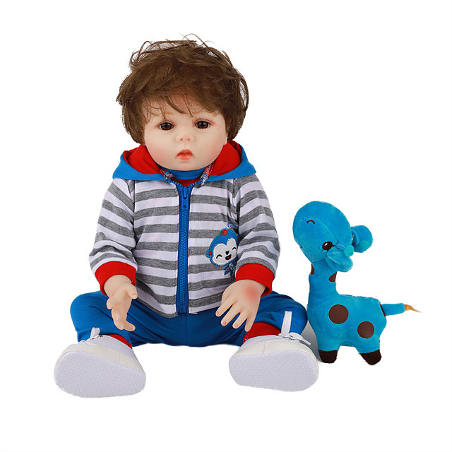 FeelWind 18 inch Reborn Doll Baby & Toddler Toy Reborn Toddler Doll Baby Boy Gift Cute Lovely Parent-Child Interaction Tipped and Sealed Nails Full Body Silicone LV053 with Clothes and Accessories