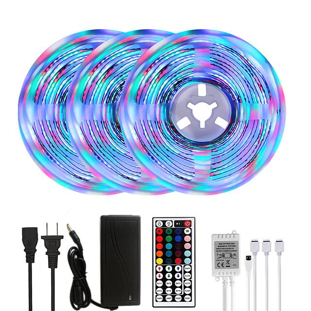 MASHANG Bright RGBW LED Strip Lights 15M(3*5M) RGBW Tiktok Lights 3510LEDs SMD 2835 with 44 Keys IR Remote Controller and 100-240V Adapter for Home Bedroom Kitchen TV Back Lights DIY Deco