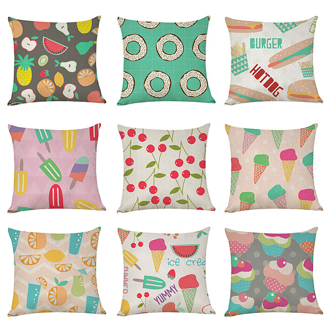 9 pcs Linen Pillow Cover, Food Fruit Casual Modern Square Traditional Classic