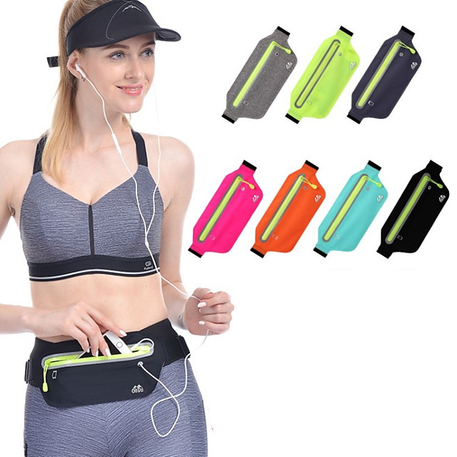 Running Belt Fanny Pack Belt Pouch / Belt Bag for Running Hiking Outdoor Exercise Traveling Sports Bag Reflective Adjustable Waterproof with Water Bottle Holder Tactel Lycra® Men's Women's Running Bag