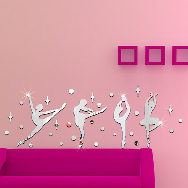 Ballet Acrylic 3D Mirror Wall Stickers Decorative For Kid