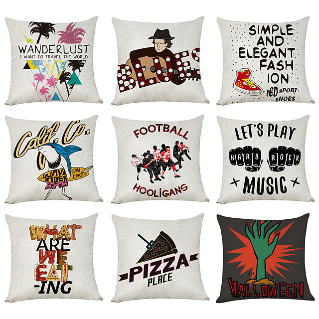 9 pcs Linen Pillow Cover, Music Wanderlust Casual Modern Square Traditional Classic