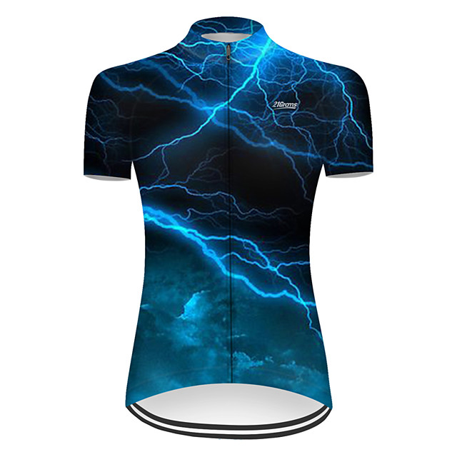 21Grams Women's Short Sleeve Cycling Jersey Nylon Polyester Black / Blue 3D Lightning Gradient Bike Jersey Top Mountain Bike MTB Road Bike Cycling Breathable Quick Dry Ultraviolet Resistant Sports