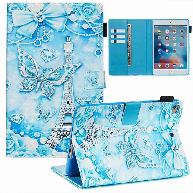Case For Apple iPad Mini 3/2/1 / iPad Mini 4 / iPad Mini 5 Wallet / Card Holder / with Stand Full Body Cases Butterfly / Eiffel Tower PU Leather / TPU