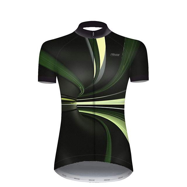 21Grams Women's Short Sleeve Cycling Jersey Nylon Polyester Black / Green 3D Stripes Gradient Bike Jersey Top Mountain Bike MTB Road Bike Cycling Breathable Quick Dry Ultraviolet Resistant Sports