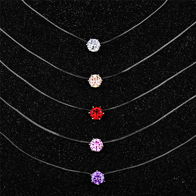 Women's Pendant Necklace Necklace Dainty Artistic Trendy Fashion Zircon White Purple Red Blushing Pink Champagne 45 cm Necklace Jewelry For Masquerade Prom Birthday Party Beach Festival