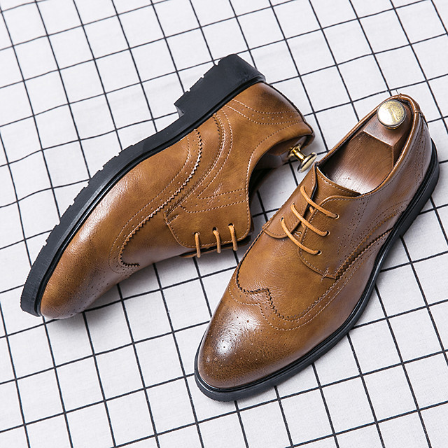 Men's Summer Casual Daily Oxfords Walking Shoes PU Breathable Non-slipping Wear Proof Black / Yellow / Brown