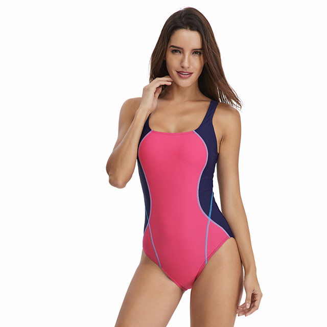 Women's One Piece Swimsuit Patchwork Padded Swimwear Bodysuit Swimwear Blue Red Breathable Quick Dry Comfortable Sleeveless - Swimming Surfing Water Sports Summer / Nylon / Elastane / Stretchy