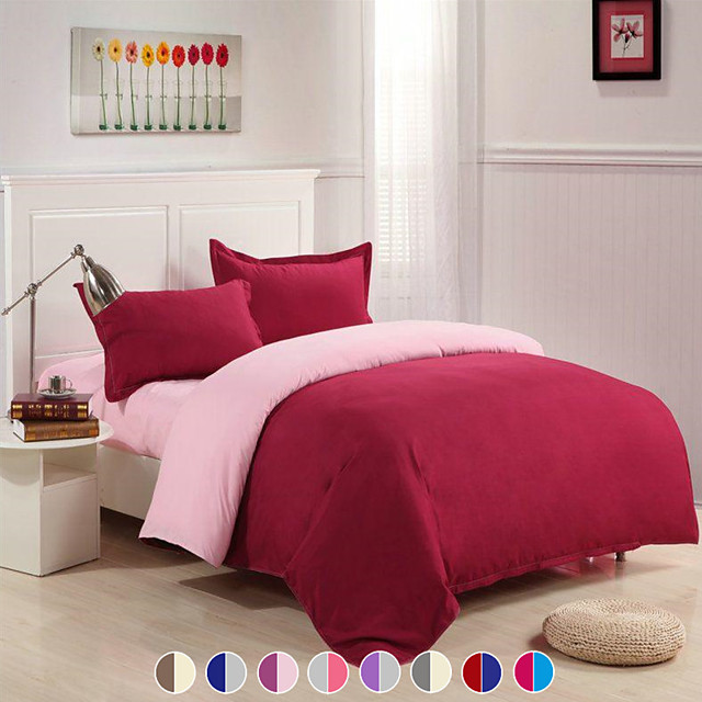 Solid Color Duvet Cover Set with Zipper Closure, Ultra Soft Hypoallergenic 4 Pieces Comforter Cover Sets