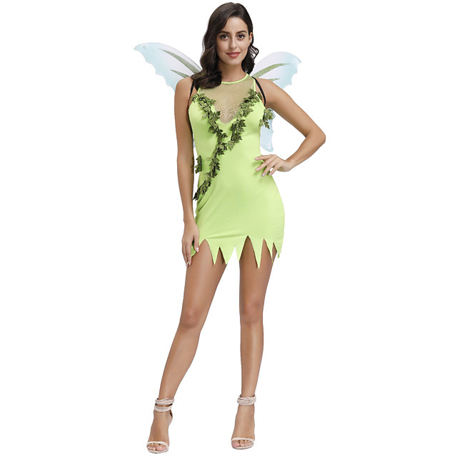 Elf Outfits Party Costume Costume Women's Movie Cosplay Green Dress Wings Masquerade Polyester