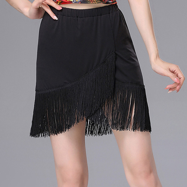 Latin Dance Skirts Tassel Gore Women's Training Daily Wear Natural Spandex