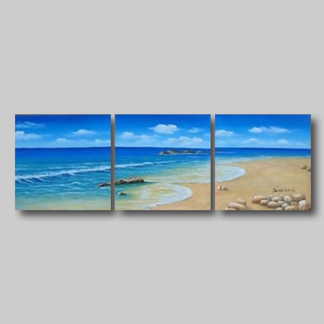 Oil Painting Hand Painted - Abstract Abstract Landscape Comtemporary Modern Stretched Canvas Summer Beach