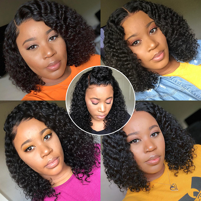 Remy Human Hair 13x6 Closure Wig Bob Asymmetrical Deep Parting style Brazilian Hair Deep Curly Natural Wig 150% Density with Baby Hair Natural Hairline African American Wig For Black Women With