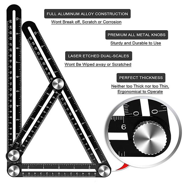 25cm Four-Fold Ruler Universal Angle Ruler Multi-Function Four-Sided Four-Square Ruler Aluminum Alloy Carpenter's Folding Ruler Shaped Ceramic Tile Ruler