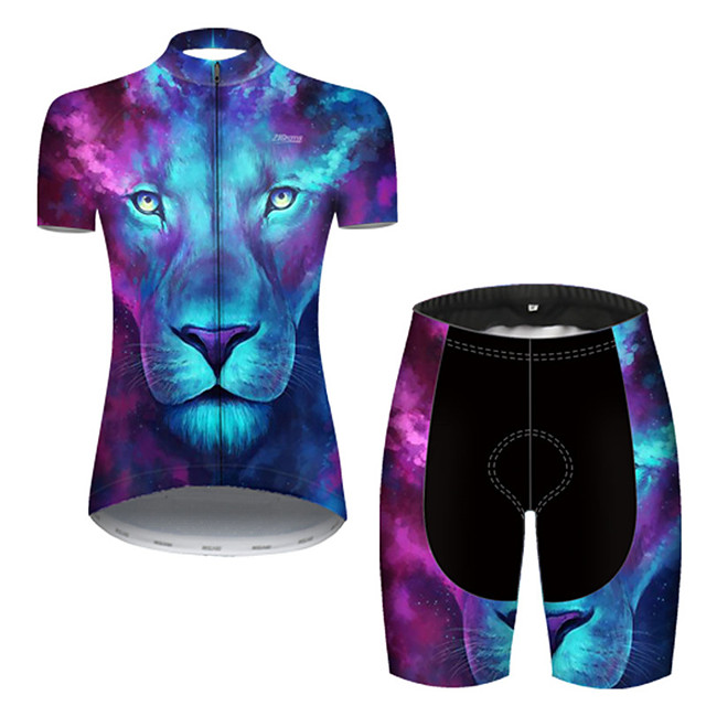 21Grams Women's Short Sleeve Cycling Jersey with Shorts Nylon Polyester Blue Gradient Animal Lion Bike Clothing Suit Breathable 3D Pad Quick Dry Ultraviolet Resistant Reflective Strips Sports Gradient