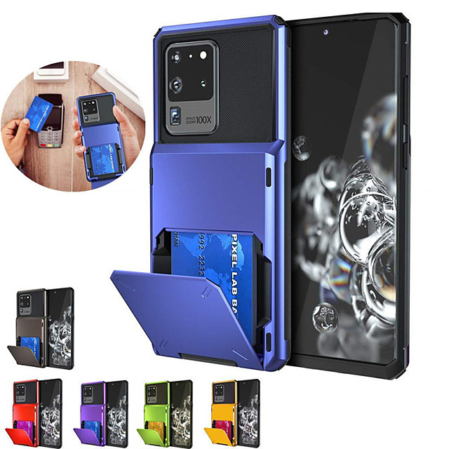 Samsung S20Ultra Flip Card Card Mecha Mobile Phone Shell Note10Plus Four Corners Drop-proof Can be Inserted 5 S10E S9P S8P Protective Shell