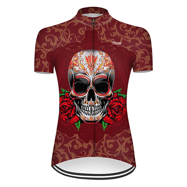 21Grams Women's Short Sleeve Cycling Jersey Nylon Polyester Red Novelty Skull Floral Botanical Bike Jersey Top Mountain Bike MTB Road Bike Cycling Breathable Quick Dry Ultraviolet Resistant Sports