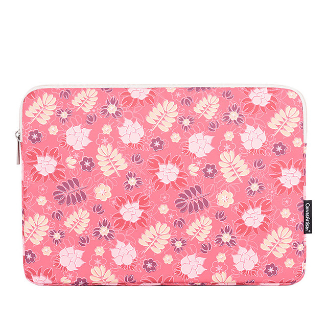 11.6 12 13.3 14 15.6 Inch Laptop Sleeve Polyester Floral Flower For Women Pink Waterpoof Shock Proof
