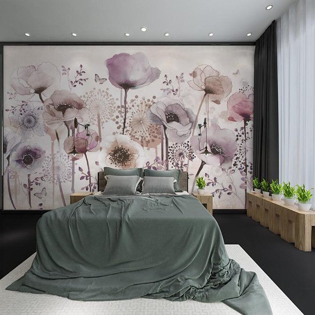 Custom Self-adhesive Mural Hand Painted Beautiful Purple Flower Suitable for Background Wall Restaurant Bedroom Hotel Wall Decoration Art Wall Cloth Room Wallcovering