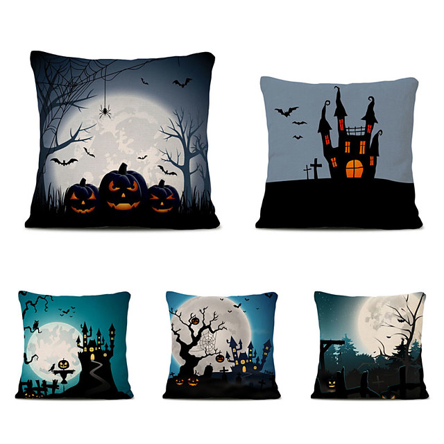 Set of 5 Halloween Party Linen Square Decorative Throw Pillow Cases Sofa Cushion Covers 18x18