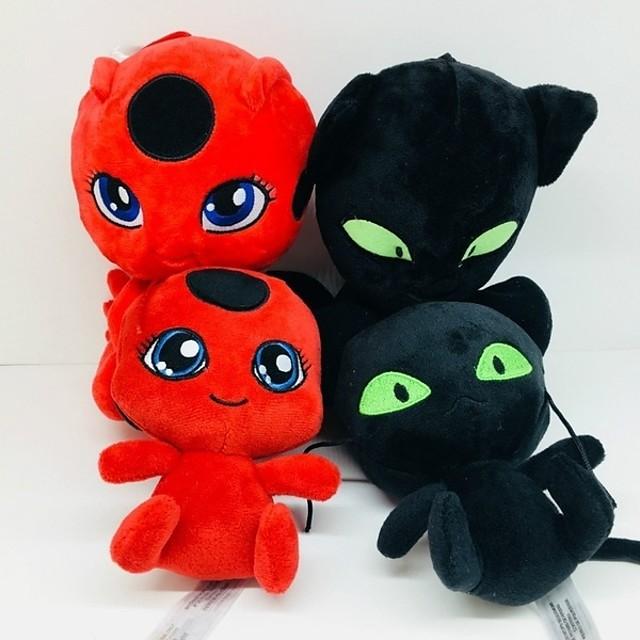 1 pcs Stuffed Animal Plush Doll Plush Toy Plush Toy Doll Plush Toys Plush Dolls Stuffed Animal Plush Toy Miraculous Ladybug Anime Noir Ladybug Funny Cotton / Polyester Imaginative Play, Stocking