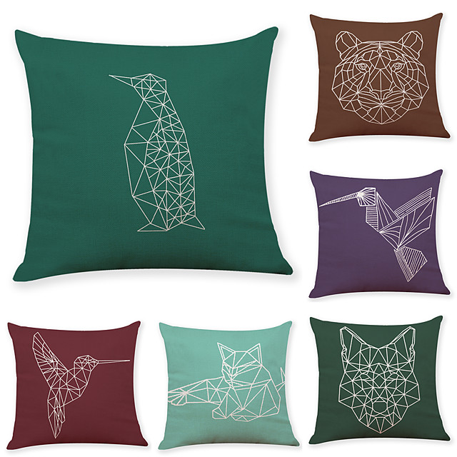 6 pcs Linen Pillow Cover, Animal Bird Simple Casual Square Traditional Classic