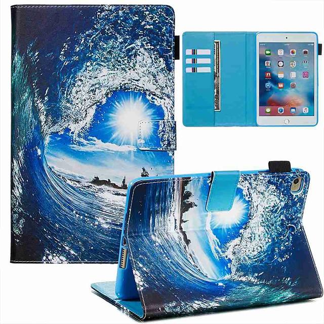 Case For Apple iPad Mini 3/2/1 / iPad Mini 4 / iPad Mini 5 Wallet / Card Holder / with Stand Full Body Cases Sea Wave and Sun PU Leather / TPU