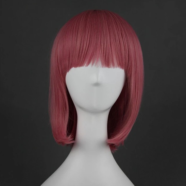 Cosplay Wig Lolita Straight Cosplay Halloween Middle Part With Bangs Wig Medium Length Pink Synthetic Hair 16 inch Women's Anime Cosplay Party Pink