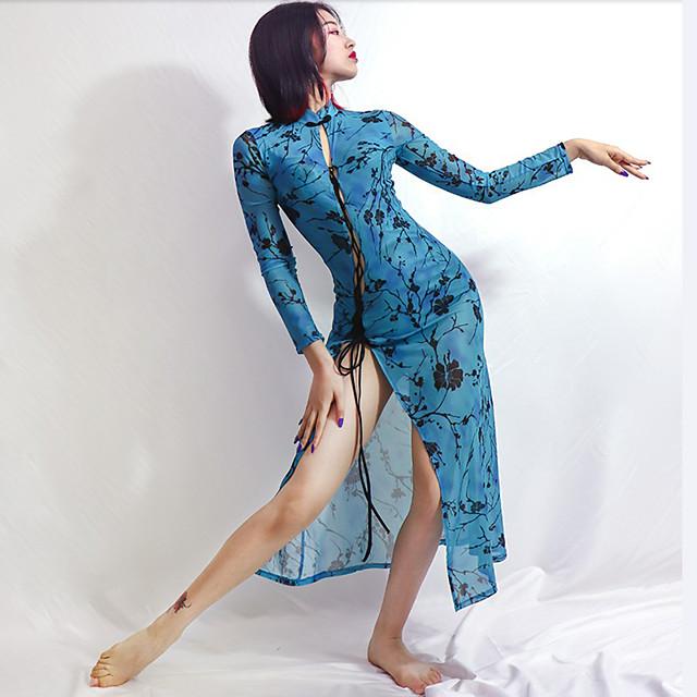 Latin Dance Dress Split Pattern / Print Split Joint Women's Training Performance Long Sleeve Mesh