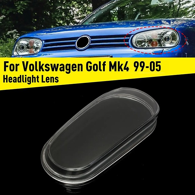 Left Glass Car Headlight Lens Cover Housing For VW Golf MK4 GTI R32 1999-2005