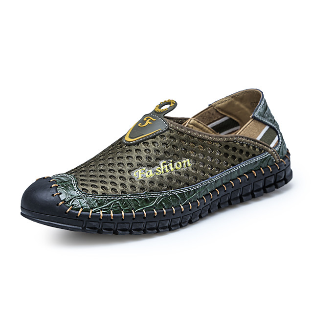 Men's Summer / Fall Casual / Beach Daily Beach Loafers & Slip-Ons Faux Leather / Mesh Non-slipping Wear Proof Light Brown / Army Green / Blue