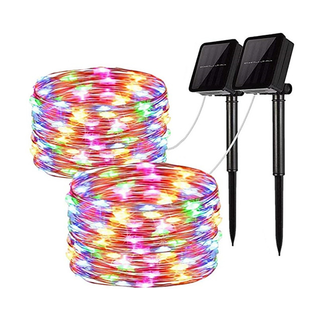 2pcs 12m 100 LEDs Solar Light String Outdoor Waterproof Garden Fairy Lights String Christmas Wedding Party Solar Light Decoration Solar Garden String Light