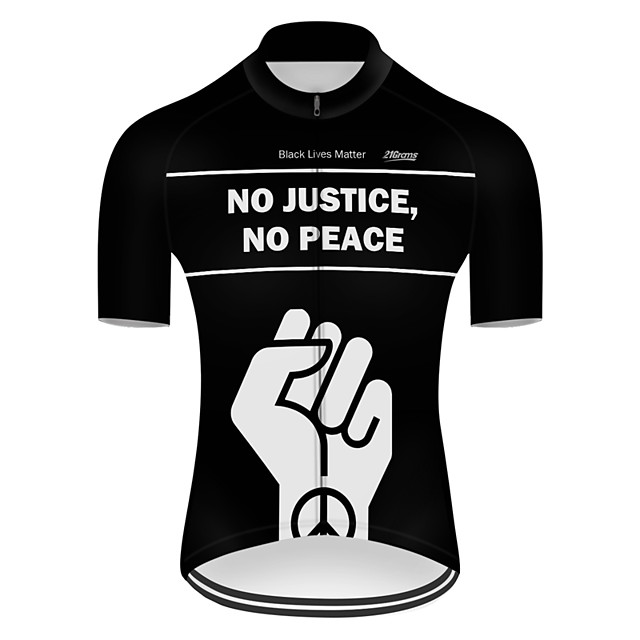 21Grams Men's Short Sleeve Cycling Jersey Nylon Polyester Black / White Peace & Love Bike Jersey Top Mountain Bike MTB Road Bike Cycling Breathable Quick Dry Ultraviolet Resistant Sports Clothing