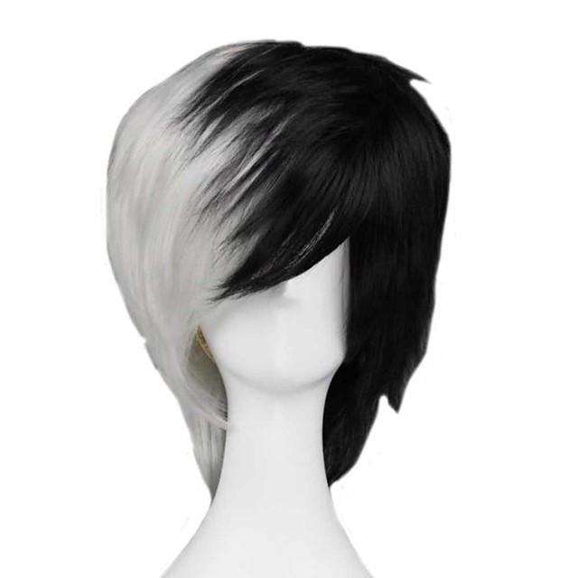 Cosplay Costume Wig Cosplay Wig Monokuma Dangan Ronpa Straight Cosplay Asymmetrical With Bangs Wig Short Black / White Synthetic Hair 14 inch Men's Anime Cosplay Cool Mixed Color