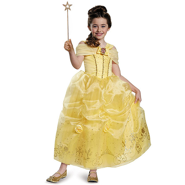 Princess Belle Dress Flower Girl Dress Girls' Movie Cosplay A-Line Slip Yellow Dress Children's Day Masquerade Polyester / Cotton