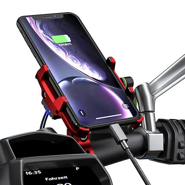 12/24V QC3.0 Fast USB Charger IP66 Aluminium Motorcycle Phone Holder Mount Waterproof