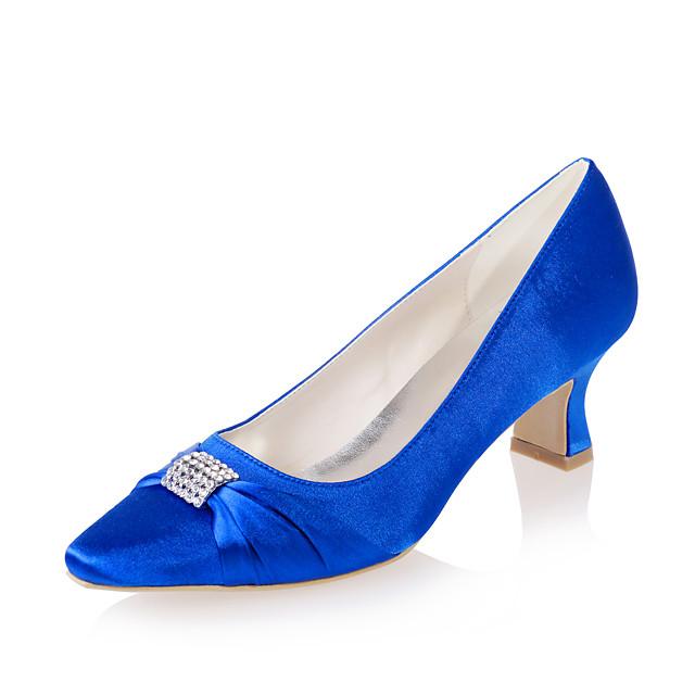 Women's Wedding Shoes Spring / Summer Block Heel Pointed Toe Minimalism Wedding Party & Evening Rhinestone Solid Colored Satin White / Purple / Dark Purple