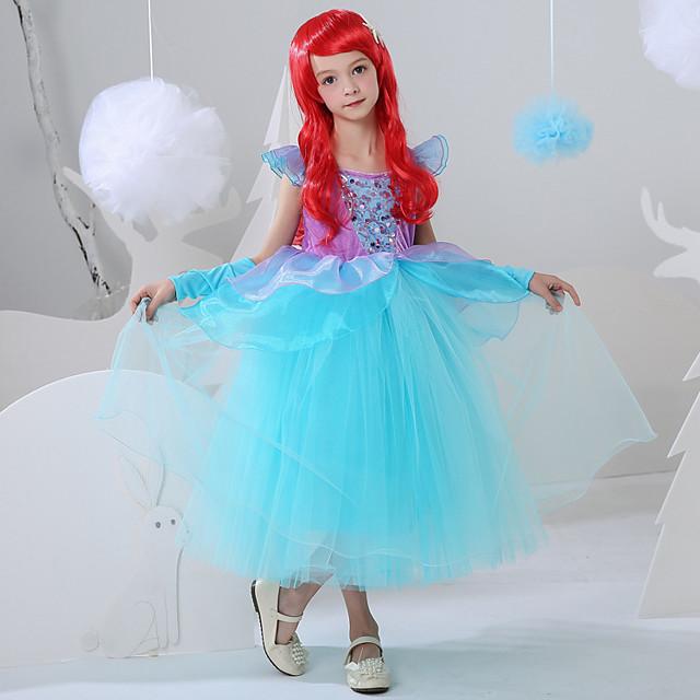 The Little Mermaid Princess Flower Girl Dress Girls' Movie Cosplay A-Line Slip Blue Dress Carnival Children's Day Masquerade Polyester