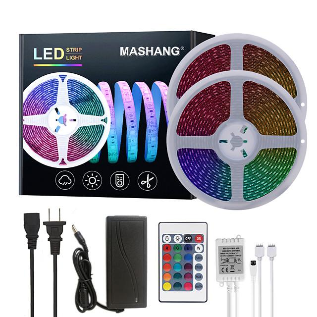 MASHANG Bright RGB LED Strip Lights 32.8ft 10M Waterproof RGB Tiktok Lights 1200LEDs SMD 5050 with 24 Keys IR Remote Controller and 100-240V Adapter for Home Bedroom Kitchen TV Back Lights DIY Deco