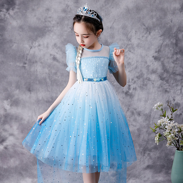 Fairytale Frozen Dress Girls' Movie Cosplay Cosplay Princess Blue Dress Children's Day Polyester Cotton
