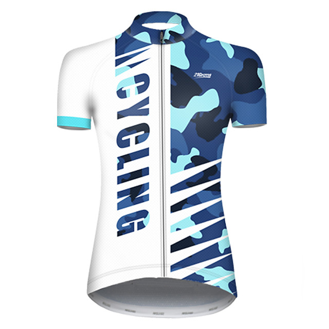 21Grams Women's Short Sleeve Cycling Jersey Nylon Polyester Blue / White Patchwork Camo / Camouflage Bike Jersey Top Mountain Bike MTB Road Bike Cycling Breathable Quick Dry Ultraviolet Resistant