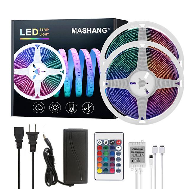 MASHANG LED Strip Lights 32.8ft 10M RGB Tiktok Lights Waterproof 300LEDs SMD 5050 with 24 Keys IR Remote Controller and 100-240V Adapter for Home Bedroom Kitchen TV Back Lights DIY Deco