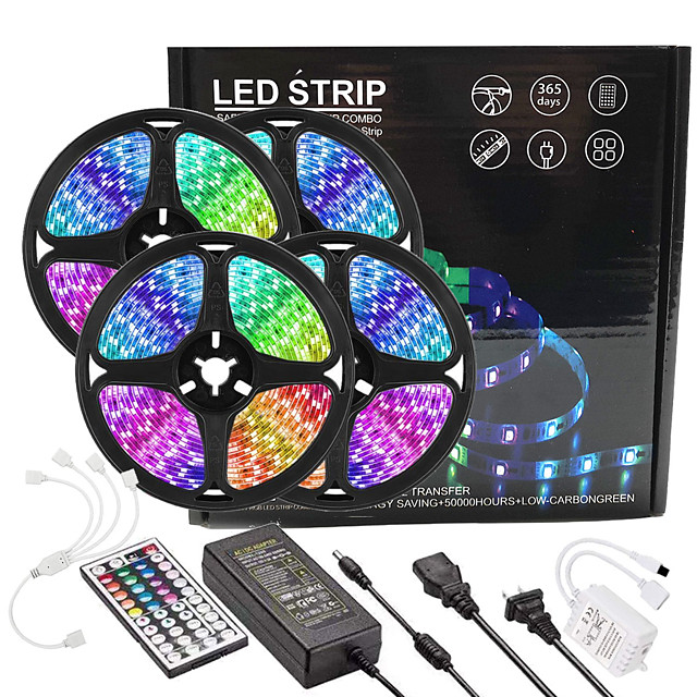 4x5M Light Sets RGB Strip Lights 1080 LEDs 2835 SMD 8mm 1 44Keys Remote Controller 1x 1 To 4 Cable Connector 1 X 12V 5A Power Supply 1 set RGB Easter Day Christmas Creative Party Linkable 12 V