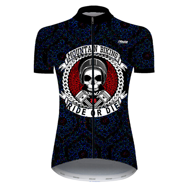21Grams Women's Short Sleeve Cycling Jersey Nylon Polyester Black / White Skull Funny Bike Jersey Top Mountain Bike MTB Road Bike Cycling Breathable Quick Dry Ultraviolet Resistant Sports Clothing