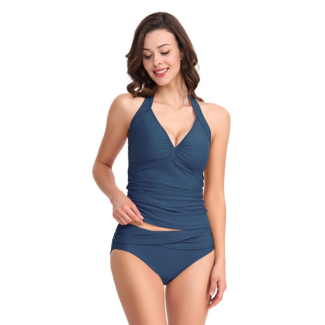Women's Tankini Elastane Swimwear Breathable Quick Dry Sleeveless Swimming Surfing Water Sports Solid Colored Summer / Stretchy
