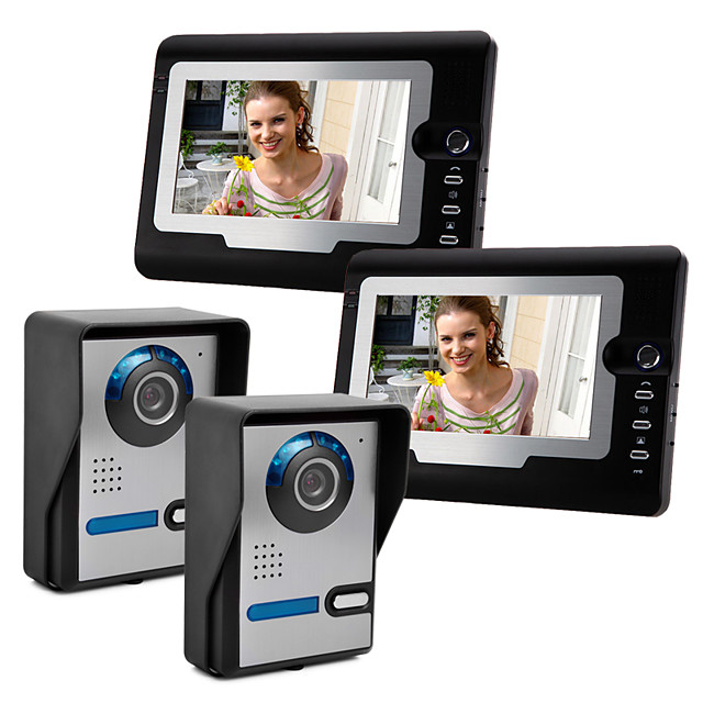 Video Intercom Wired 7 Inch Hands-free 800*480 Pixel Two To Two Video Doorphone with Unlock Function