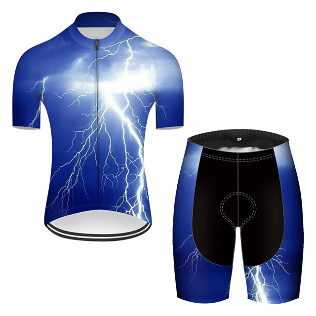 21Grams Men's Short Sleeve Cycling Jersey with Shorts Nylon Polyester Blue 3D Lightning Gradient Bike Clothing Suit Breathable 3D Pad Quick Dry Ultraviolet Resistant Reflective Strips Sports 3D