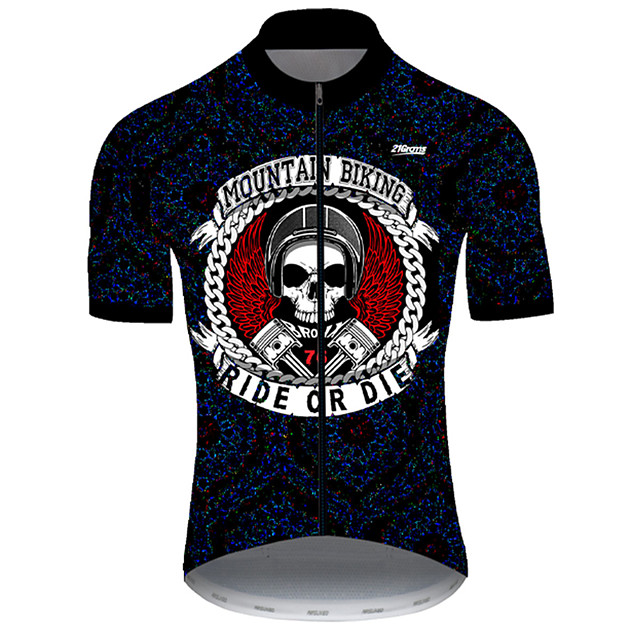 21Grams Men's Short Sleeve Cycling Jersey Nylon Polyester Black / White Skull Funny Bike Jersey Top Mountain Bike MTB Road Bike Cycling Breathable Quick Dry Ultraviolet Resistant Sports Clothing